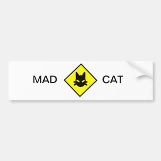 Mad Kitty Cat Crossing Sign Bumper Sticker