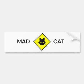 Mad Kitty Cat Crossing Sign Bumper Sticker