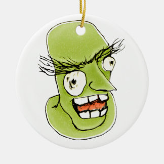 Mad Monster Man with Evil Expression Ceramic Ornament