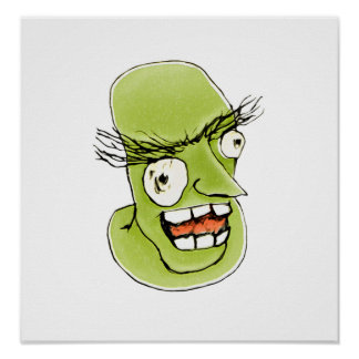 Mad Monster Man with Evil Expression Poster