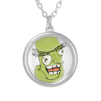 Mad Monster Man with Evil Expression Round Pendant Necklace