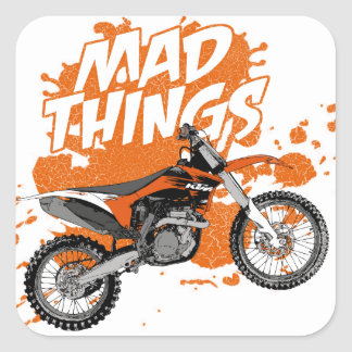 Mad race square stickers