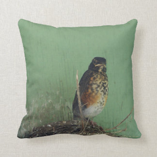 """Mad Robin"" Throw Pillow"