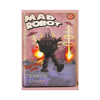 Mad Robot Pulp Cover Stretched Canvas Print