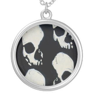 mad robot's the skulls within round pendant necklace