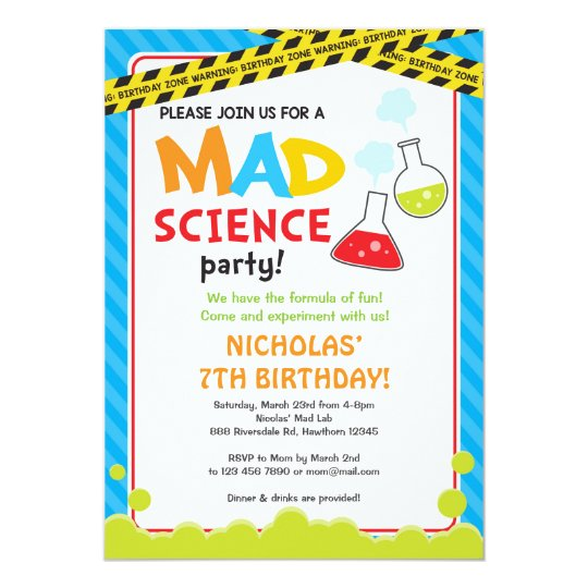 Mad Science Birthday Invitation Mad Scientist Zazzlecom