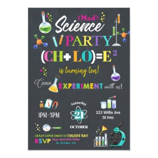 Mad Science Birthday Party Chalkboard Girl Invitation