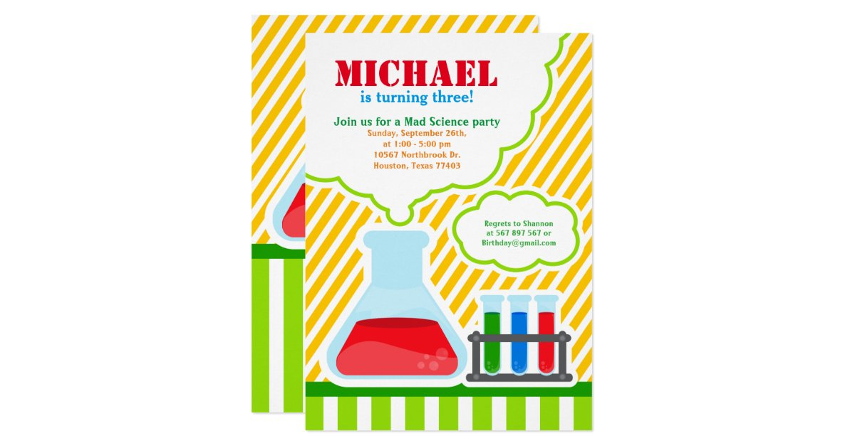 Mad Science Birthday Party Invitation – Mad Scientist Birthday Party Invitations