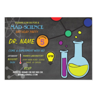 Mad Science Boys girls Birthday Party Invitations