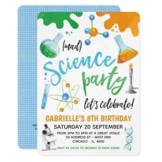 Mad Science Colorful Birthday Invitation