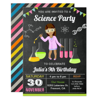 Mad Science Experiment Girls Birthday Party Invite