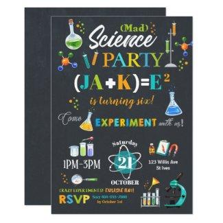 Mad Science Party Birthday Invitation Boy