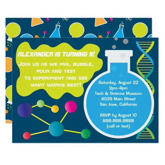 Mad Science Scientist Birthday Party Invitations Zazzle Com
