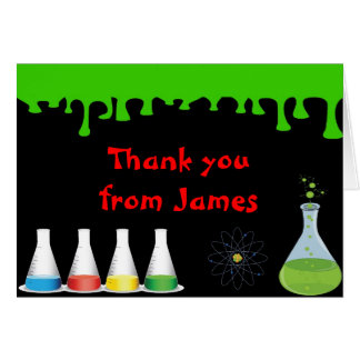 Mad Science Scientist Birthday Thank You Note Card