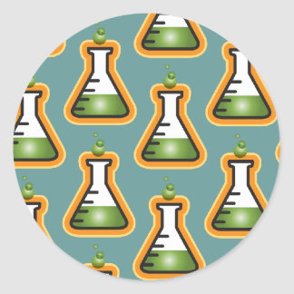 Mad Scientist Beakers Classic Round Sticker