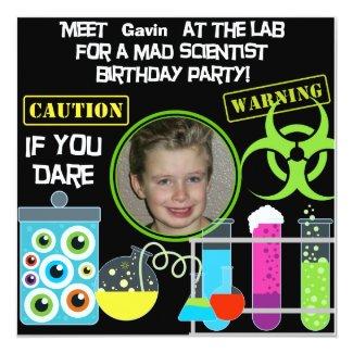 """Mad Scientist Birthday Party 2 Invitations 5.25"""" Square Invitation Card"""