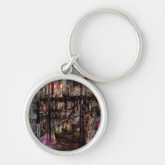 Mad Scientist - Essence of life machine Silver-Colored Round Keychain