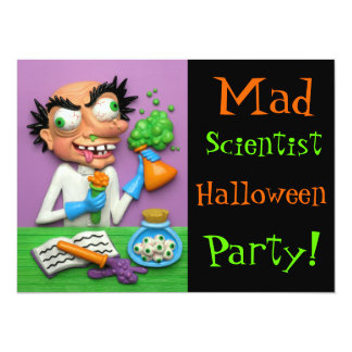Mad Scientist Halloween Party Card