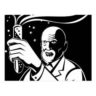 mad scientist holding up test tube postcard