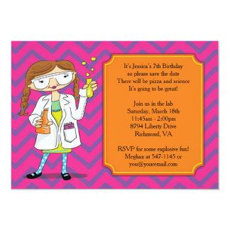 Mad Scientist Invitation : Brunette Girl