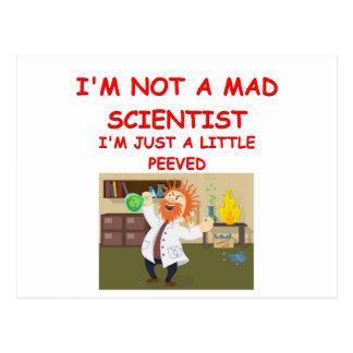 mad scientist joke postcards
