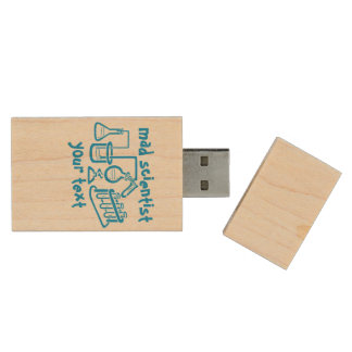 Mad Scientist Laboratory Personalized Wood Flash Drive