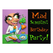 Mad Scientist Party Custom Announcements