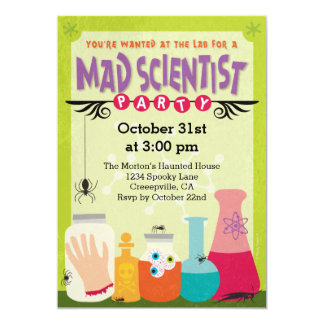 Mad Scientist Party 5x7 Paper Invitation Card