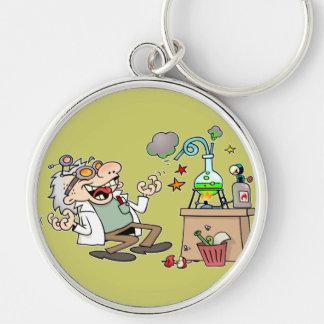 Mad Scientist Silver-Colored Round Keychain