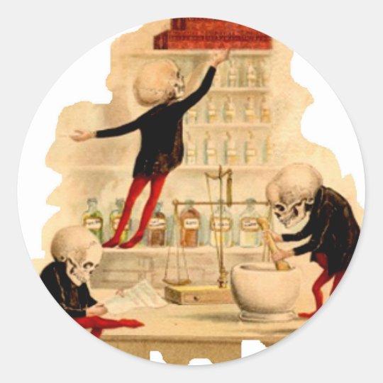Mad Scientist Skeletons Classic Round Sticker