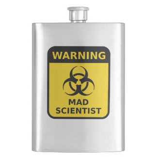 Mad Scientist Warning Hip Flasks