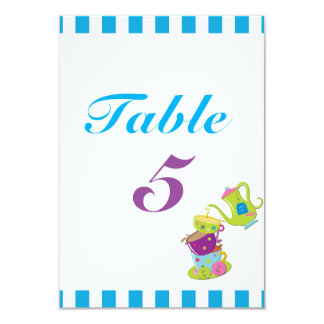 Mad Tea Party Cups Birthday Table Number Card