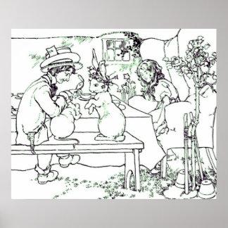 Mad Tea Party Vintage Illustration Poster