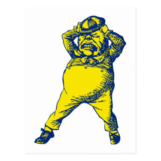 Mad Tweedle Dee Inked Blue Yellow Postcard