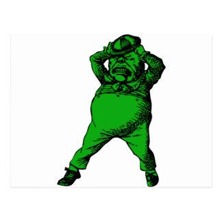 Mad Tweedle Dee Inked Green Fill Postcard