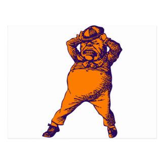 Mad Tweedle Dee Inked Purple Orange Postcard