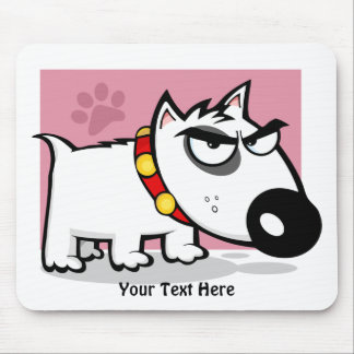 Mad White Dog (customizable) Mouse Pad