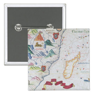 Madagascar and East African Coastline 2 Inch Square Button