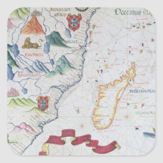 Madagascar and East African Coastline Square Sticker