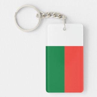 Madagascar - bandera malgache llavero rectangular acrílico a doble cara
