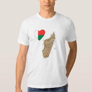 Madagascar Flag Heart and Map T-Shirt
