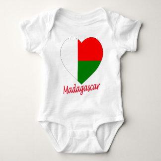 Madagascar Flag Heart Baby Bodysuit