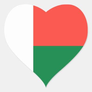Madagascar Flag Heart Sticker