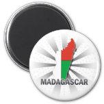 Madagascar Flag Map 2.0 2 Inch Round Magnet