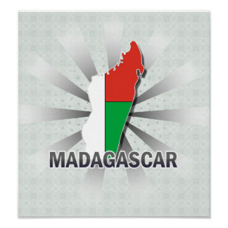 Madagascar Flag Map 2.0 Posters