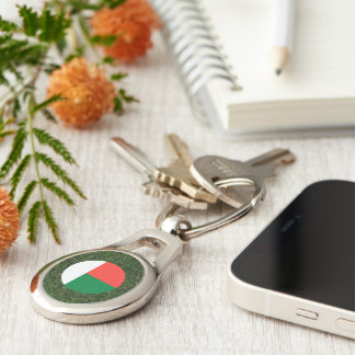 Madagascar Flag on Grass Keychain