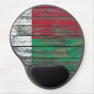 Madagascar Flag on Rough Wood Boards Effect Gel Mouse Pad