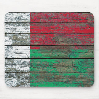 Madagascar Flag on Rough Wood Boards Effect Mouse Pad
