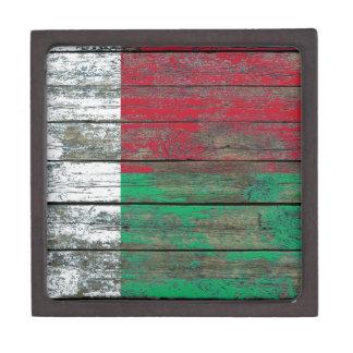 Madagascar Flag on Rough Wood Boards Effect Premium Trinket Boxes