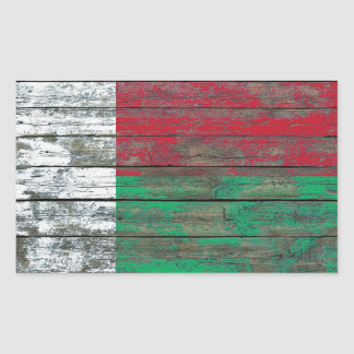 Madagascar Flag on Rough Wood Boards Effect Rectangular Sticker